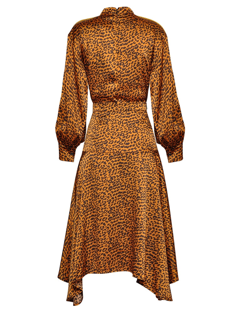 Runway Suit Set Leopard Print Blouse Asymmetrical Skirt Set