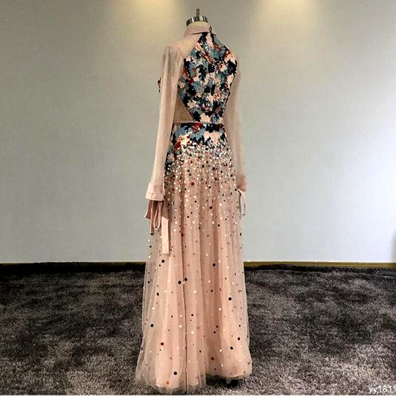 High Neck beading Colorful Crystals Pink Lace Floor Length Evening Dress