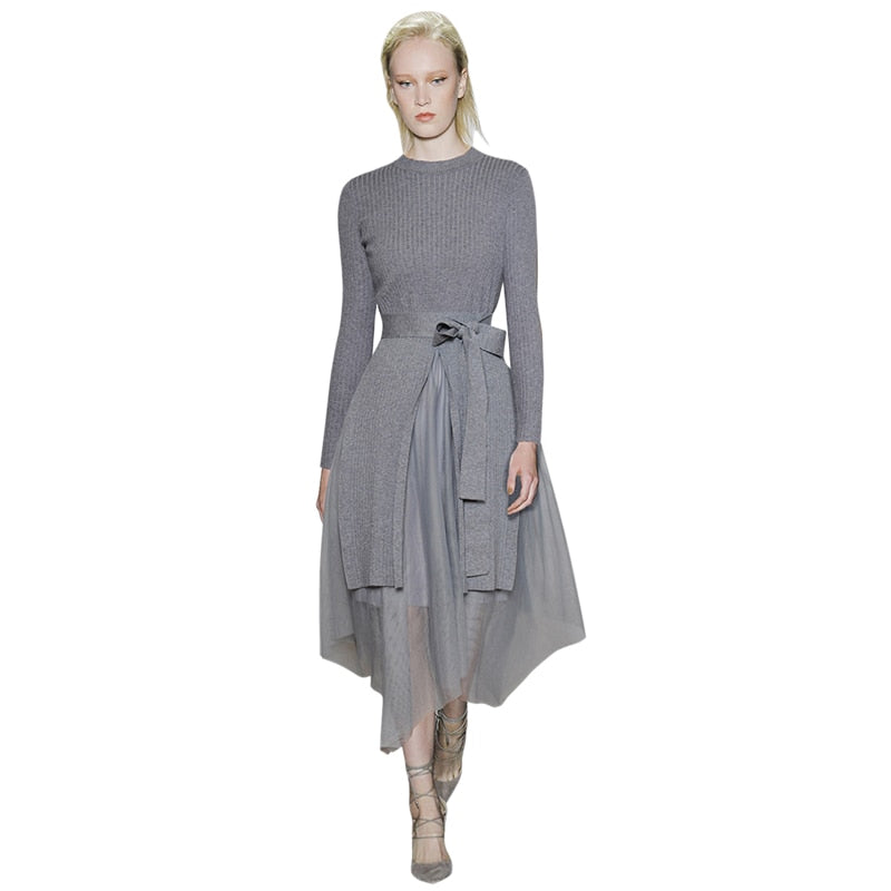 Two pieces outfit cardigan knitwear long sleeve sweater pullover+mesh grey midi skirt Set