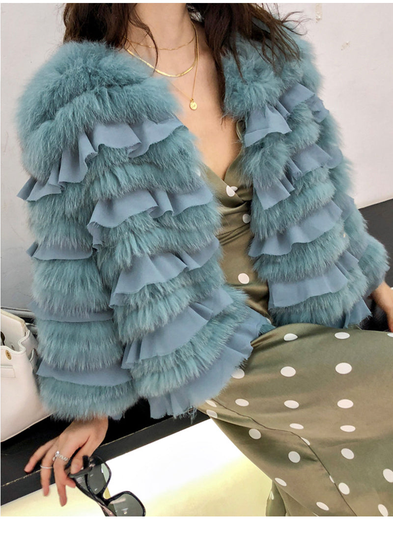 Genuine Fox Fur Coats O-Neck Coat