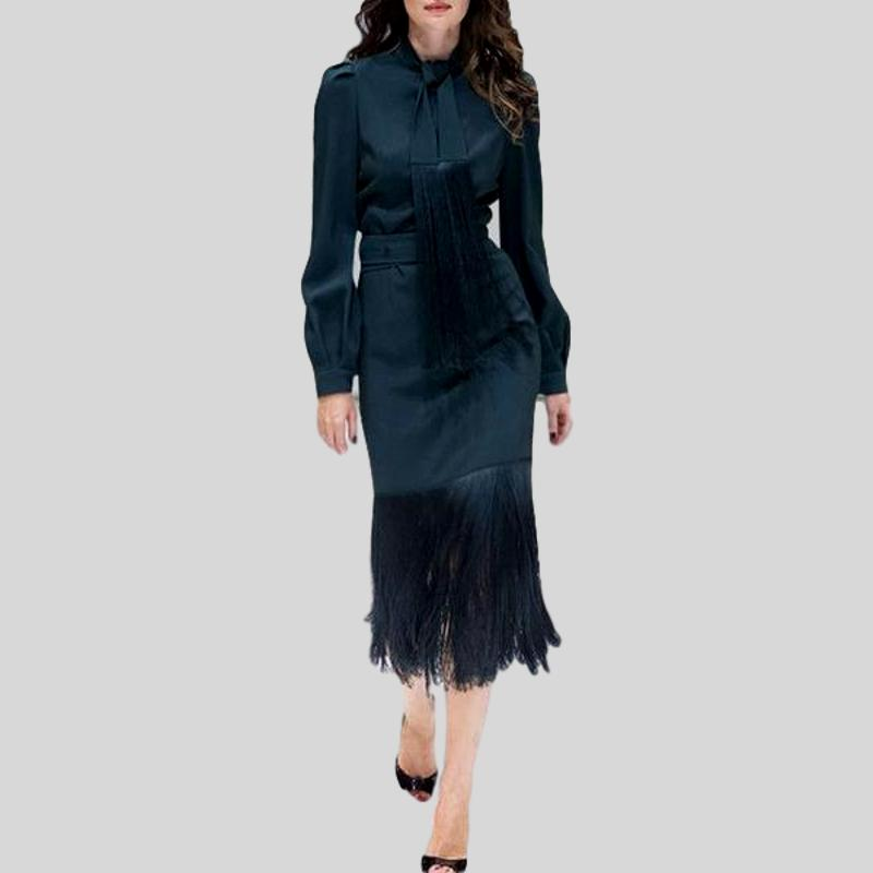 Two Pieces Single Breasted Bow Shirts and Tassel Slim Skirt Set