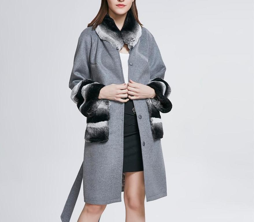 Woolen with Real Rabbit Fur Coats