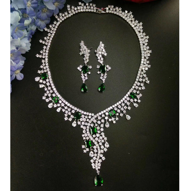 Luxury white/green/yellow/blue color Cubic Zircon Jewelry Set
