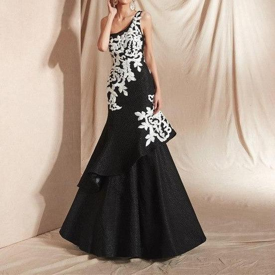 One Shoulder Lace Gown Formal Evening Dress