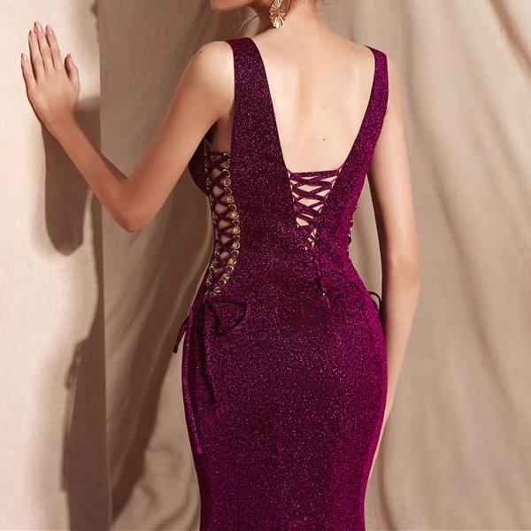 Deep V Neck Mermaid Evening Gown Lace Up Dress