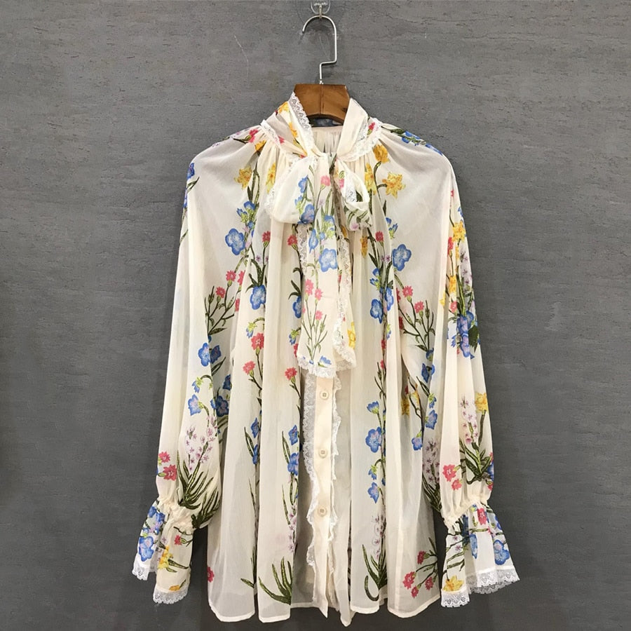 Chiffon Summer Spring Long Lantern Sleeve Colorful Flowers Printed White Top