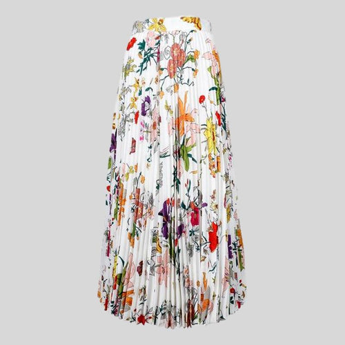 Casual  Spring  Colorful Flowers Printed Pleated Long Skirt