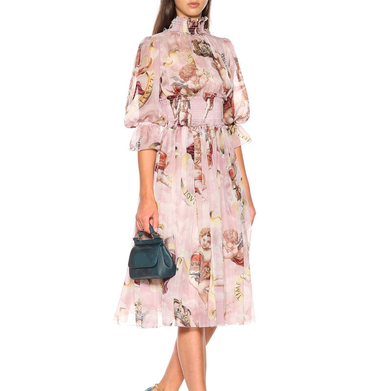 Women Elegant Print Runway Clothes 2018 New Style Puff Sleeve Chiffon Mid Calf Dress Fashion Empire Stretch Ruffles Vestidos