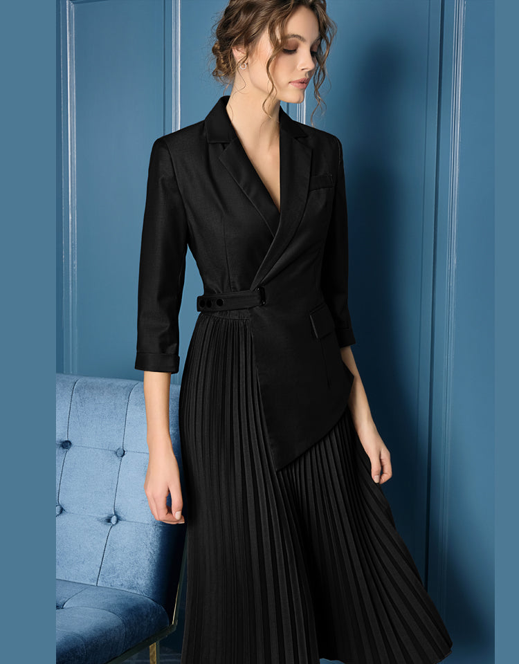 Runway High Quality Button Pockets Luxury Irregular Pleated Dress