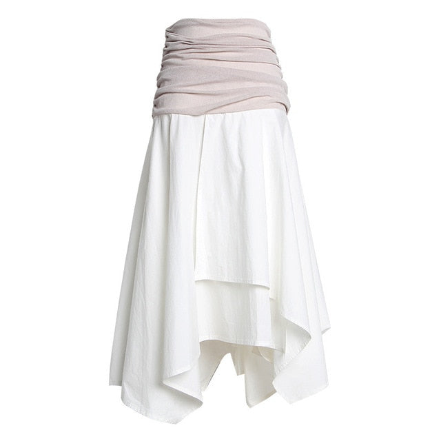Skirt High Waist Ruched Irregular Midi Skirt