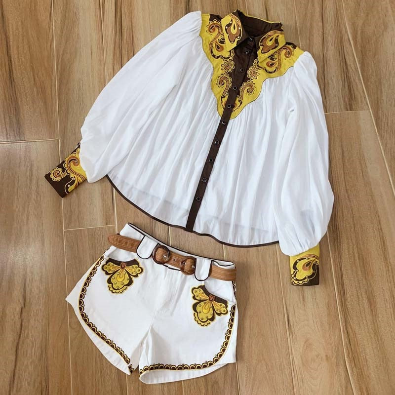 Vintage Embroidery White Puff Sleeves Rivets Shorts Set