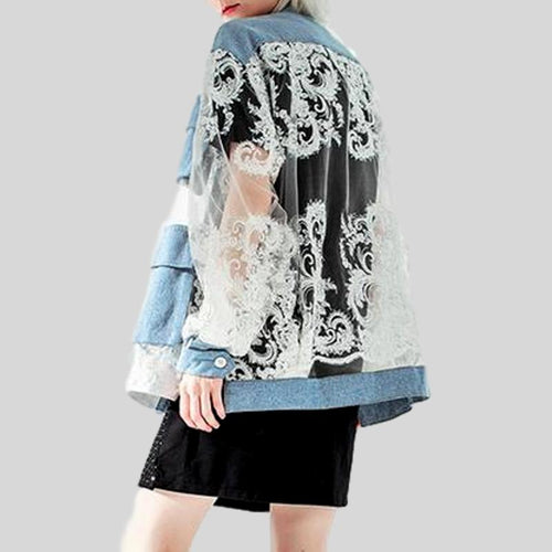 Summer Embroidery Denim Patchwork V Neck Long Sleeve Perspective Button Jacket