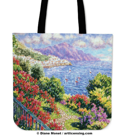 Diane Monet View from Hotel Santa Cataune tote bag