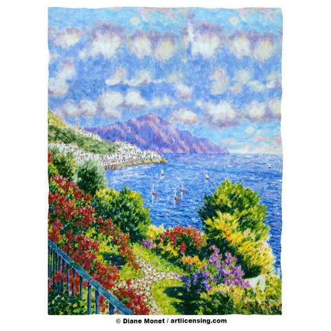 Diane Monet View from Hotel Santa Cataune fleece item