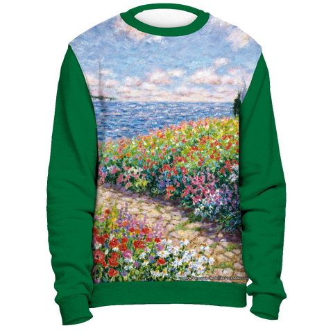 Diane Monet - Path To The Beah - All Over Print Sweatshirt - Green