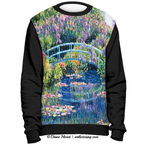 "Black Full Print Sweatshirt  ""Calm Afternoon"" - Diane Monet [TL3CF8SS]"