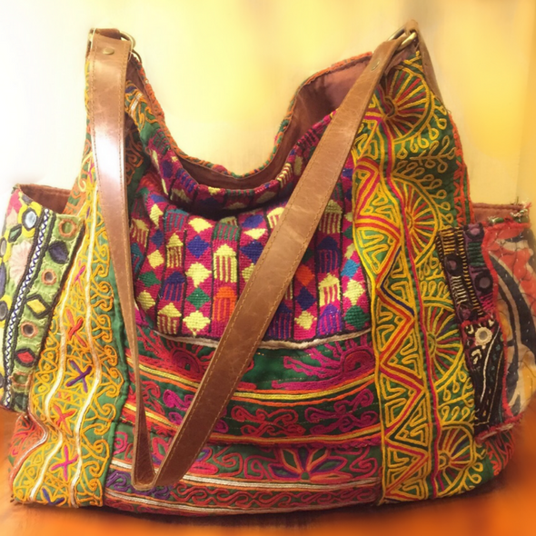 Boho Ethnic Bag w/ Side Pockets -Reversible  Multicoulour