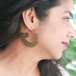 Gold Toned Hmong inspired Engraved Hoops