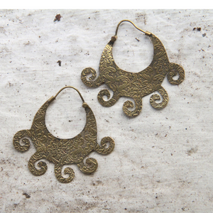 Gold Toned Hmong inspired Engraved Hoops Waves
