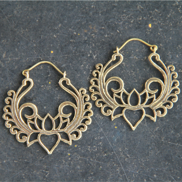 Gold Toned Hoops Lotus