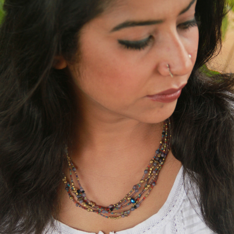 5 Layered Bead Necklace -grey & midnight oilspill