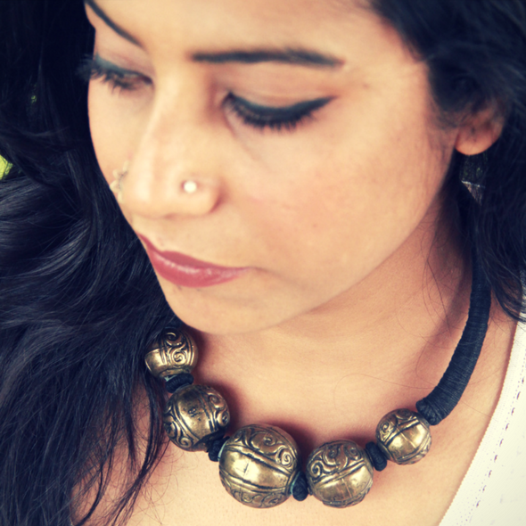 Gold Toned Engraved Ball Tribal Hasli Necklace