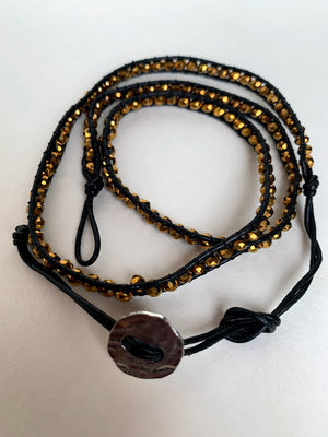 Artisanal Leather Bejewelled Multifaceted String