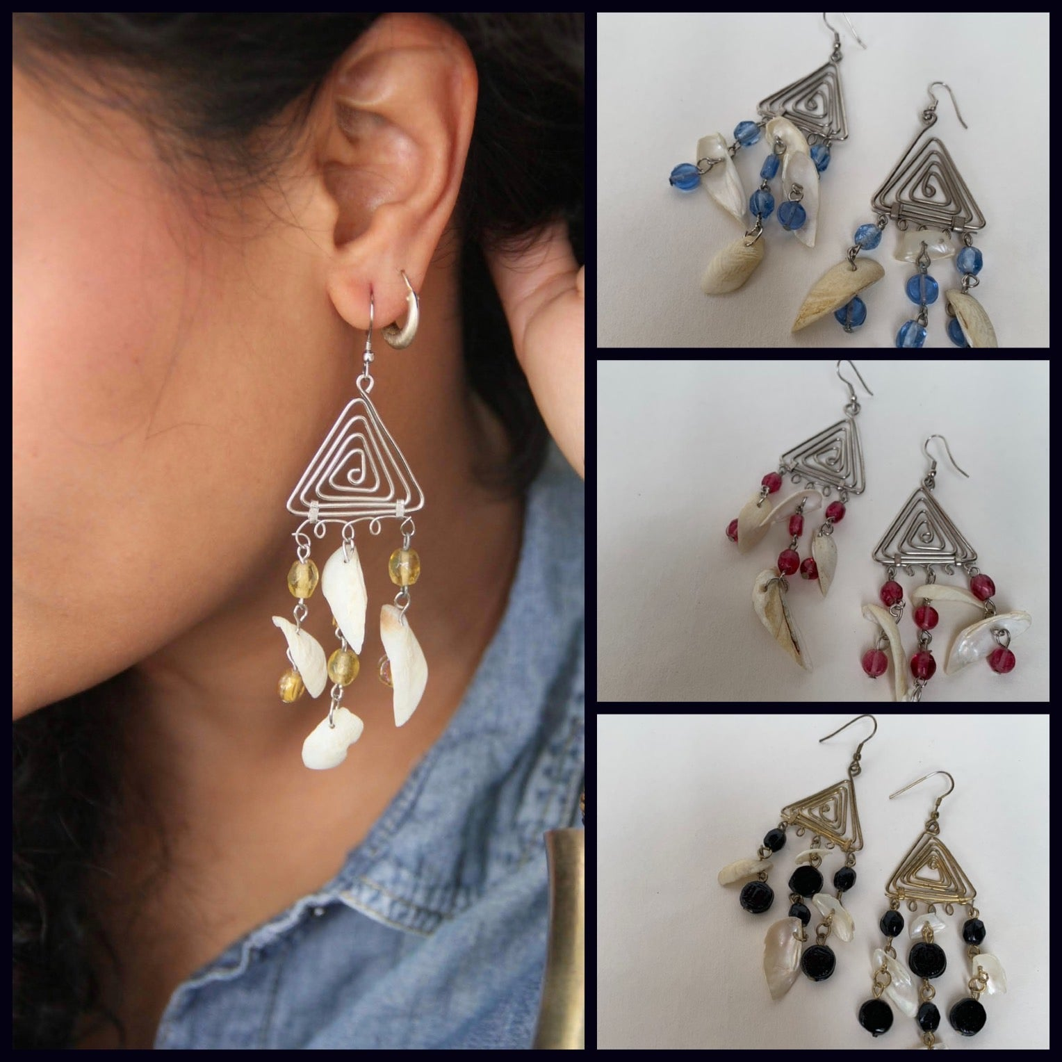 Metal Triangle with shell Tassel Earrings