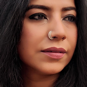 Silver double loop Nose Ring / Septum
