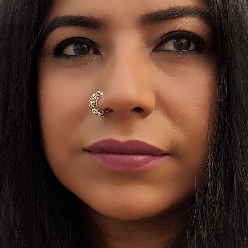 Engraved Silver Nose Septum Ring