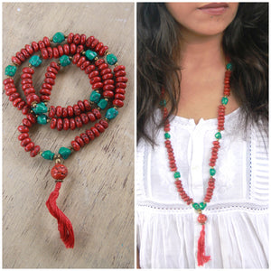 Turquoise and Coral Beads Meditation Mala