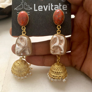Indian Festive Jhumka (Coral &mop)Earring