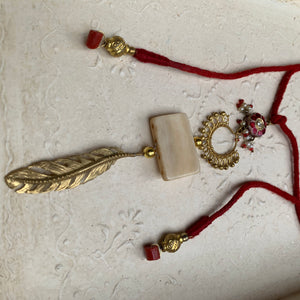 Reimagined feather red necklace
