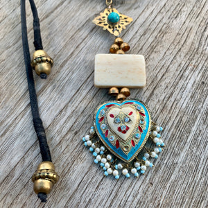 Reimagined Turquoise Lac &Brass Necklace
