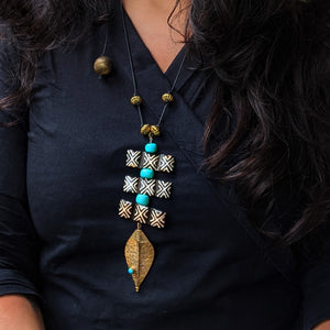 Reimagined Brass Turquoise Bd & Wd  Necklace