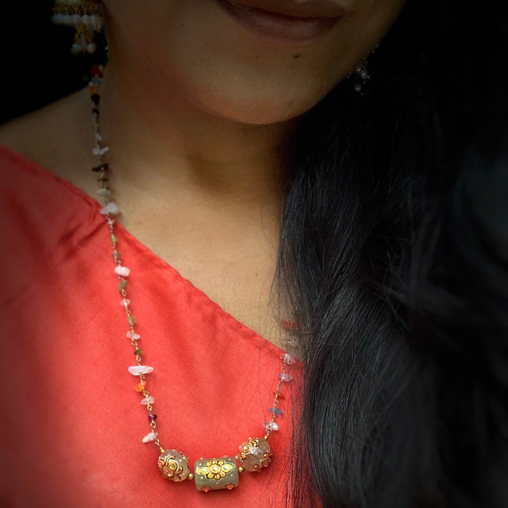 Kundan MultiColour Semipr Necklace