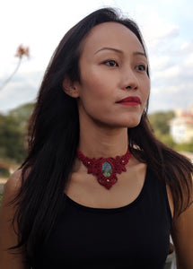 Macrame Choker (Red)