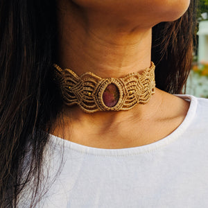 Macrame Choker band Natural