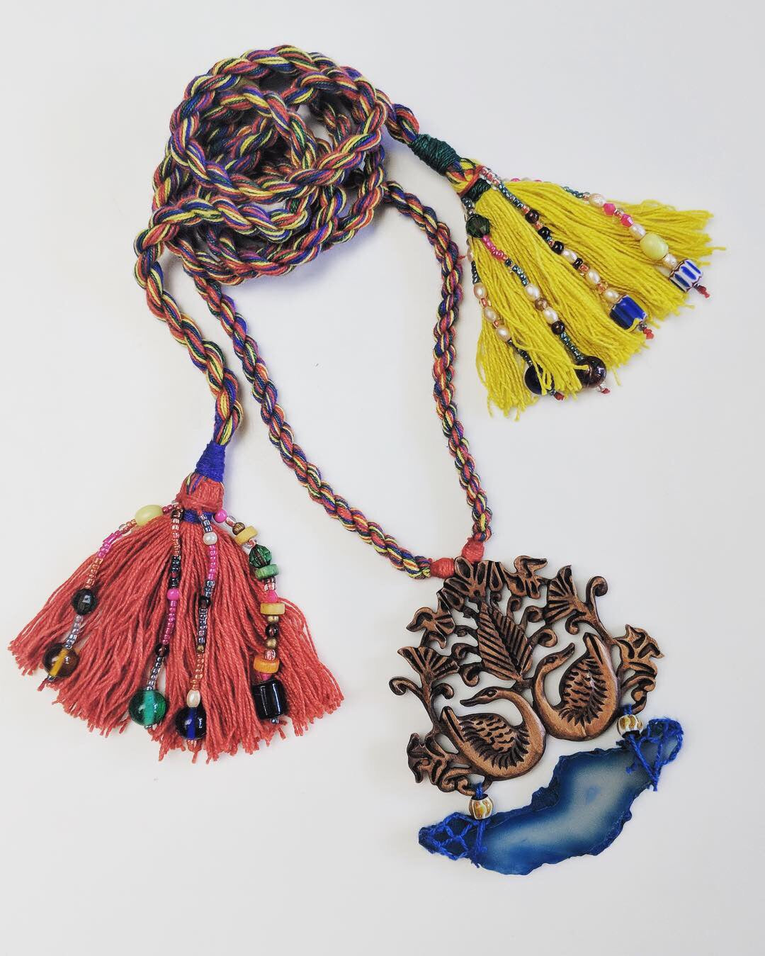 Wooden Peacock & Druzy Tassel Necklace