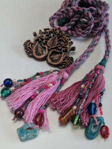 Wood Peacock Tassel Necklace