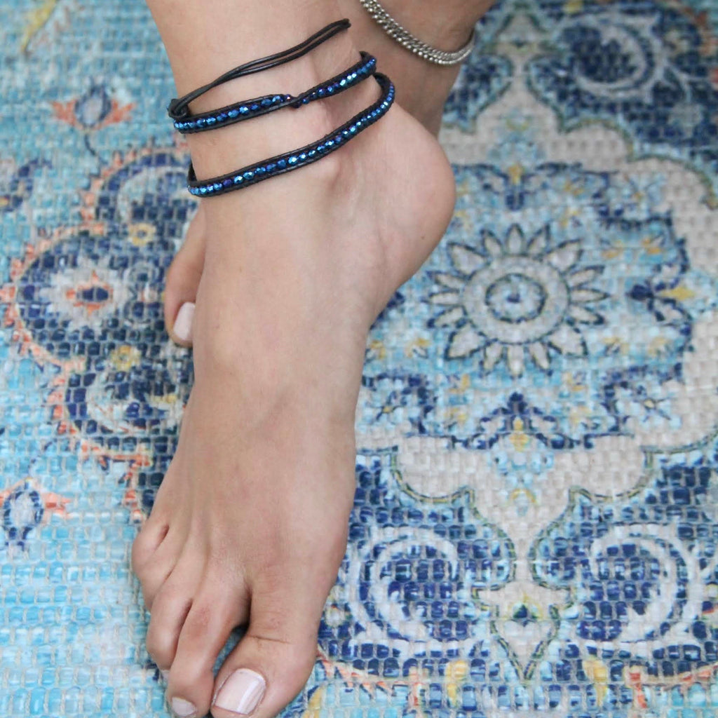 Artisanal Leather Bejeweled Anklet