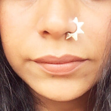 Silver Nose Ring Star
