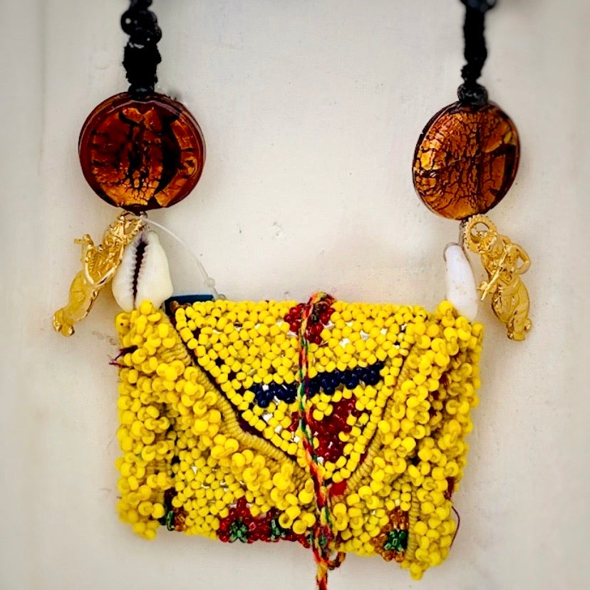 Vintage Beaded Pouch Necklace