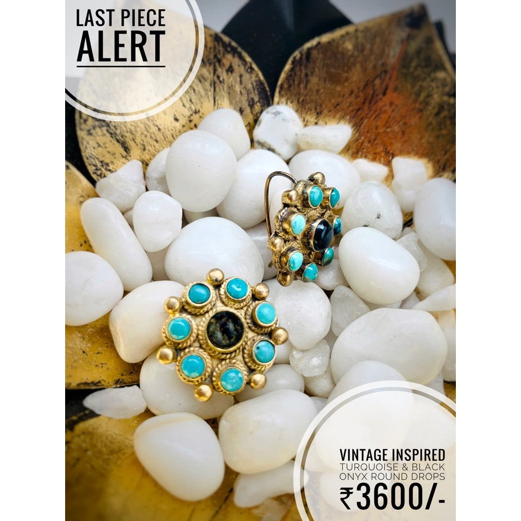 Vintage Turquoise flower Drops