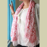 Handwoven Scarf Om Print Red/White