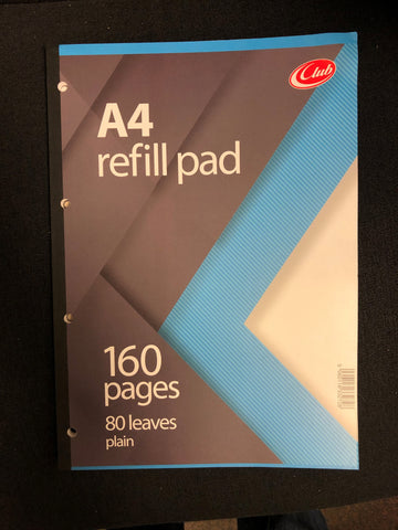 A4 REFILL PAD PLAIN - 160 PAGES