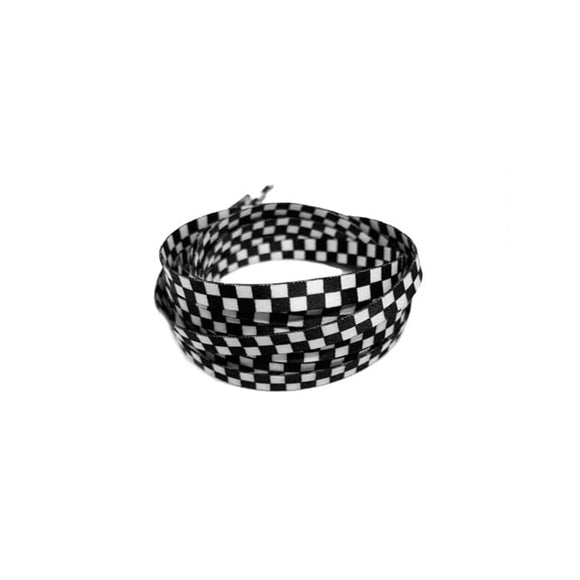 125CM CHECKERBOARD WHITE BLACK LACES