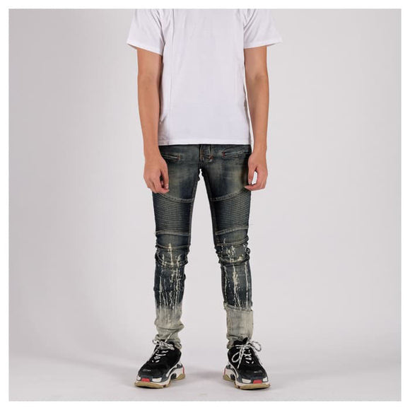 A1 BIKER DENIM DIRTY BLUE SPLASH