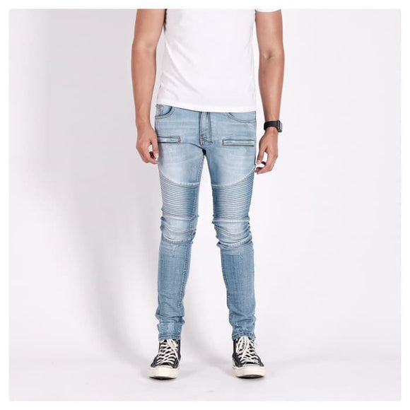 A1 BIKER DENIM LIGHT BLUE