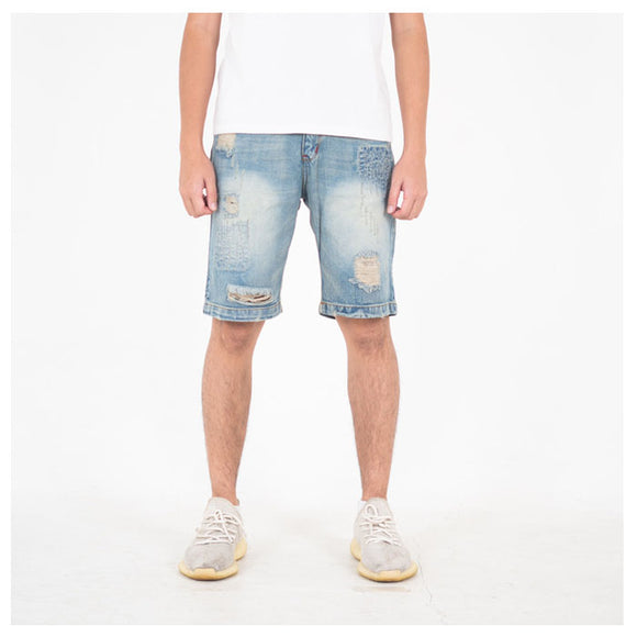 A1 DISTRESSED SHORT CREAM BLUE